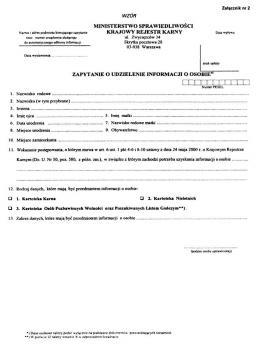 Nowe opłaty za wydanie informacji zKrajowego Rejestru Karnego
